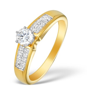 18K Gold Diamond Solitaire Ring with Shoulder Detail - L1366