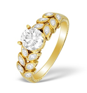 18K Gold Diamond Solitaire Ring with Shoulder Detail - L1498