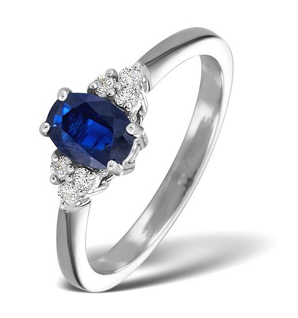 Sapphire 1.00ct And Diamond 18K White Gold Ring - image 1