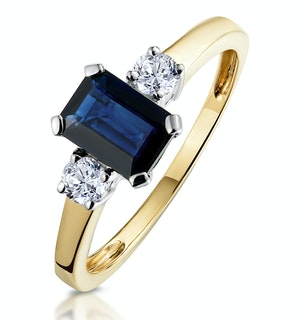 Sapphire 7 x 5mm And Diamond 18K Gold Ring  N3925