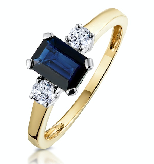 Sapphire 7 x 5mm And Diamond 18K Gold Ring  N3925 - image 1