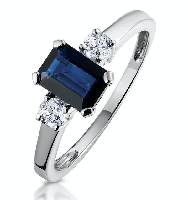 Sapphire 7 x 5mm And Diamond 18K White Gold Ring - image 1