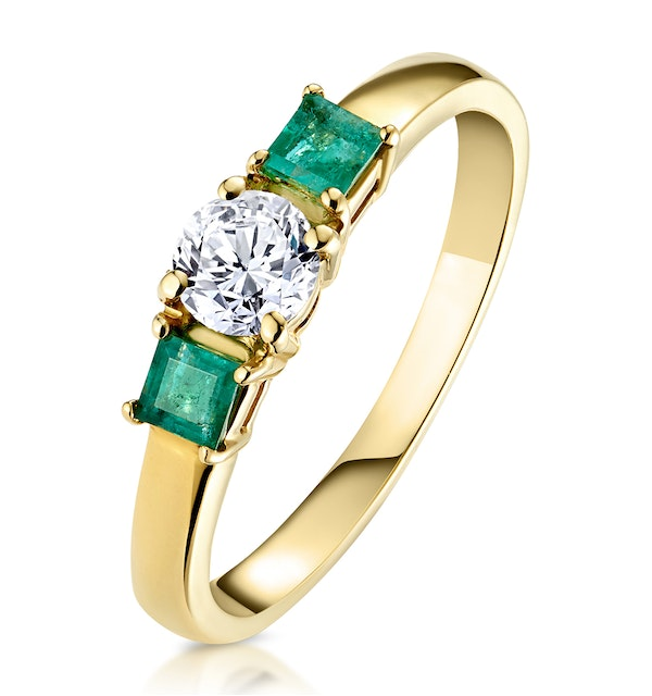 Emerald 0.30ct And Diamond 18K Gold Ring - image 1