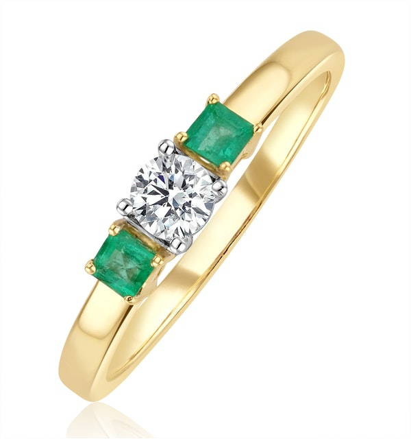 Emerald 0.20ct And Diamond 18K Gold Ring - image 1