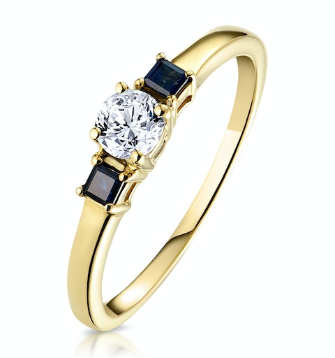 Diamond 0.25ct And Sapphire 18K Gold Ring - image 1