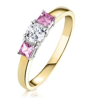 18K Gold Diamond Pink Sapphire Ring 0.25ct