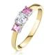 18K Gold Diamond Pink Sapphire Ring 0.25ct - image 1