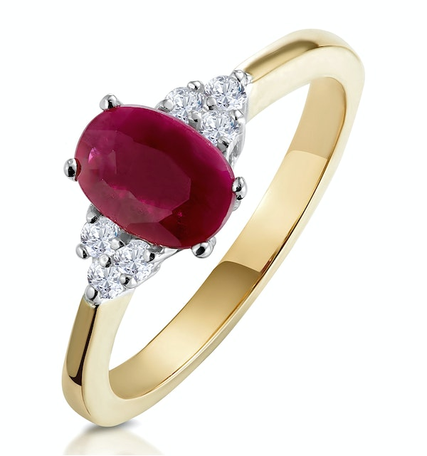 Ruby 7mm x 5mm And Diamond 18K Gold Ring - image 1