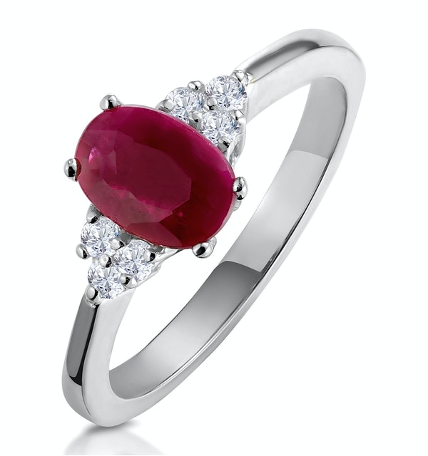Ruby 1.15ct And Diamond 18K White Gold Ring - image 1