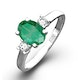 Emerald 0.75ct And Diamond 18K White Gold Ring  N4316Y - image 1