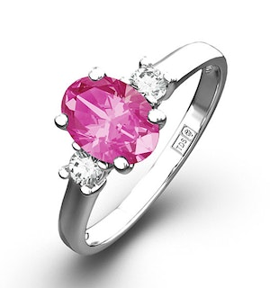 18K White Gold Diamond Pink Sapphire 0.85ct Ring