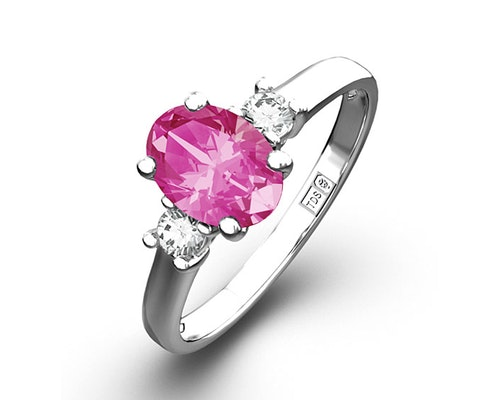 Pink Sapphire White Gold Engagement Rings