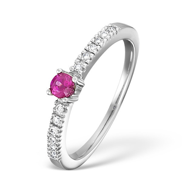 18K White Gold H/Si Diamond and Pink Sapphire Ring - image 1