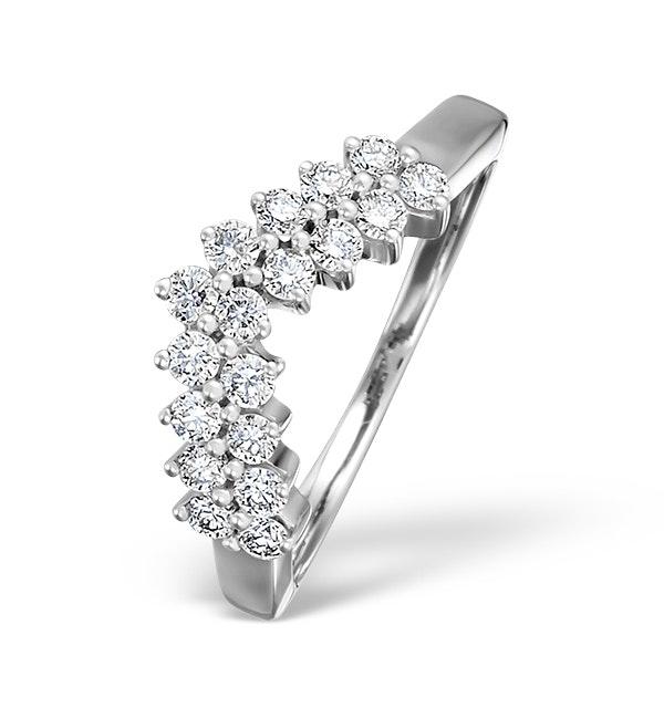 Diamond H/Si 0.45ct 18K White Gold Wishbone Ring - image 1
