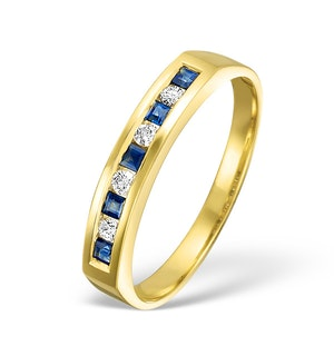 Sapphire 0.20ct And Diamond 18K Gold Ring