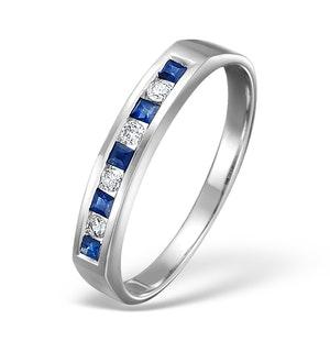 Sapphire 0.20ct And Diamond 18K White Gold Ring