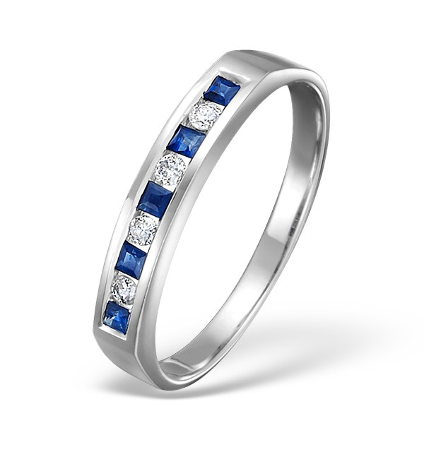 Sapphire 0.20ct And Diamond 9K White Gold Ring - image 1