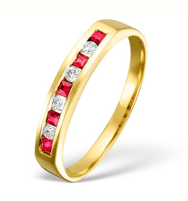 18K Gold H/Si Diamond and Ruby Half Eternity Ring - image 1