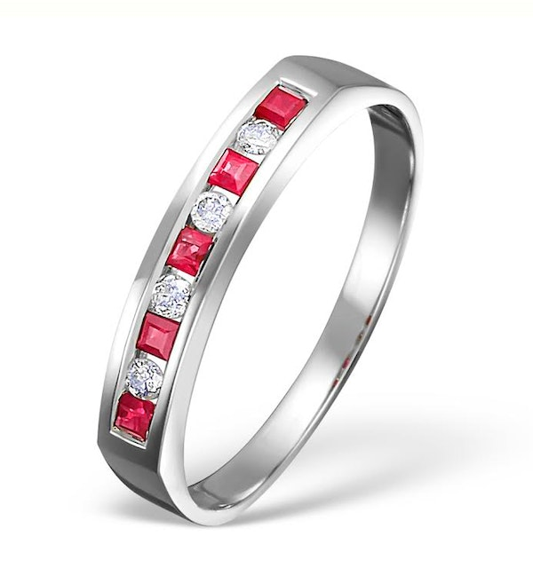 18K White Gold H/Si Diamond and Ruby Half Eternity Ring - image 1