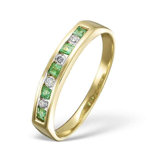 Emerald 0.15ct And Diamond 18K Gold Ring - image 1