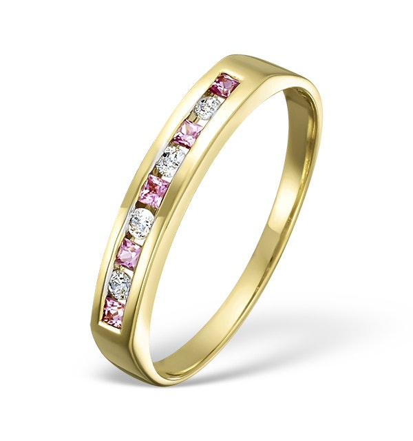 18K Gold H/Si Diamond and Pink Sapphire Ring - image 1