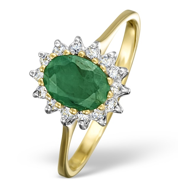 Emerald 0.83ct And Diamond 9K Gold Ring - image 1