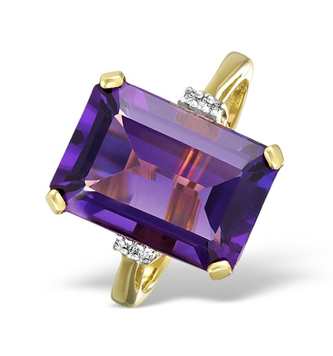Amethyst 6.40ct And Diamond 9K Gold Ring - image 1