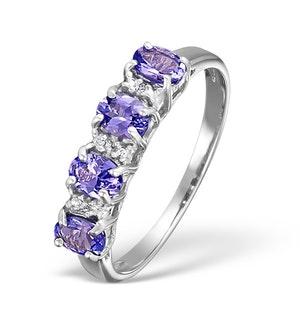 Tanzanite 0.76CT And Diamond 9K White Gold Ring