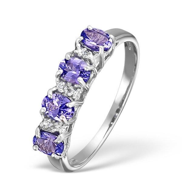 Tanzanite 0.76CT And Diamond 9K White Gold Ring - image 1