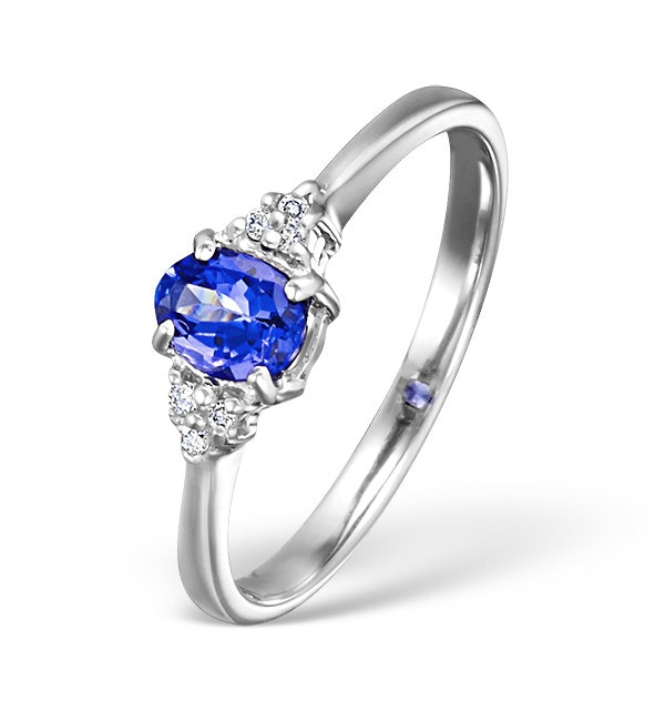 Tanzanite 0.35ct And Diamond 18K White Gold Ring - image 1