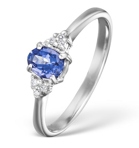 Tanzanite 0.35CT And Diamond 9K White Gold Ring - image 1