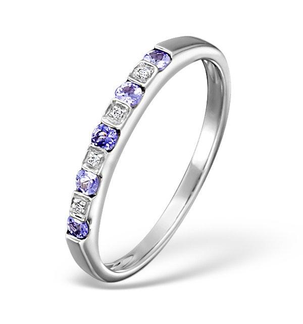 Tanzanite And Diamond 18K White Gold Ring - image 1