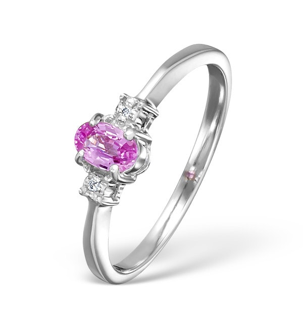 Pink Sapphire And 0.01CT Diamond Ring 9K White Gold - image 1