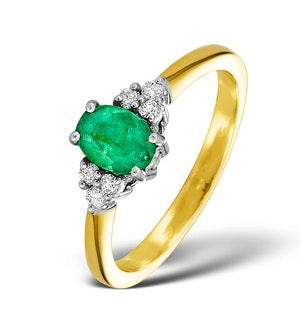 Emerald 0.75ct And Diamond 18K Gold Ring  N4300