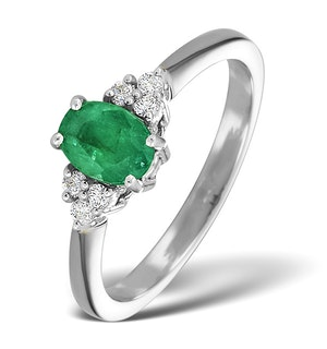 Emerald 0.75ct And Diamond 18K White Gold Ring
