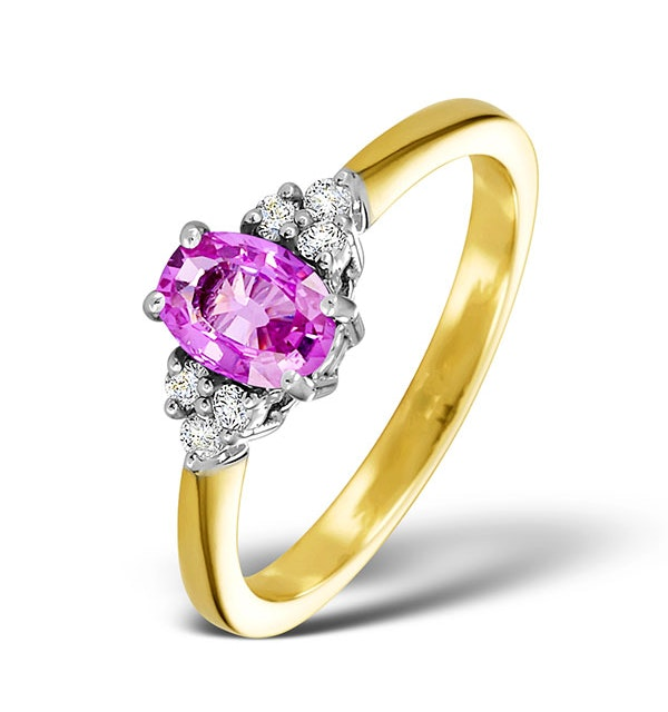 18K Gold 0.85ct Pink Sapphire and 0.12ct Diamond Ring - image 1