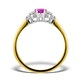 18K Gold 0.85ct Pink Sapphire and 0.12ct Diamond Ring - image 3