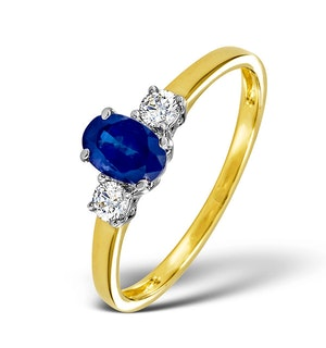 Sapphire 6 x 4mm And Diamond 18K Gold Ring  N4312