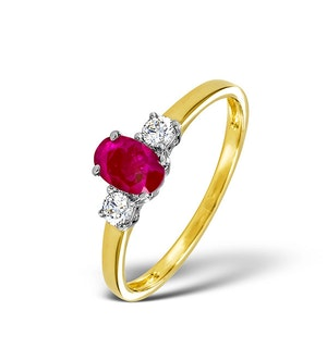 Ruby 6 x 4mm And Diamond 18K Gold Ring  N4313