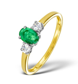 Emerald 6 x 4mm And Diamond 18K Gold Ring  N4314
