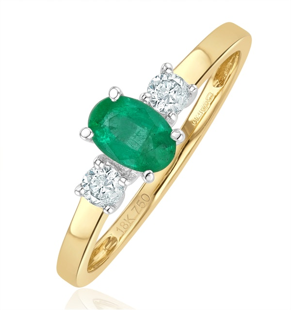 Emerald 6 x 4mm And Diamond 18K Gold Ring  N4314 - image 1