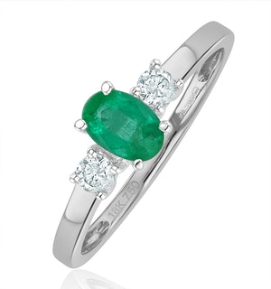 Emerald 6 x 4mm And Diamond 18K White Gold Ring  N4314Y