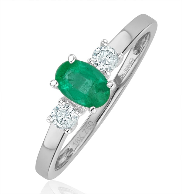 Emerald 6 x 4mm And Diamond 18K White Gold Ring  N4314Y - image 1