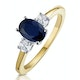 Sapphire 1.00ct And Diamond 18K Gold Ring - image 1