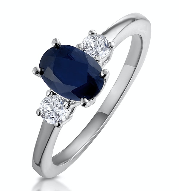 Sapphire Ring 1.00ct and Diamond 18K White Gold Ring - image 1