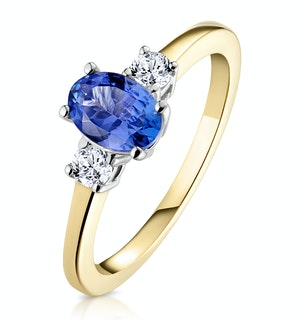 Tanzanite 7 x 5mm And Diamond 18K Gold Ring  N4317