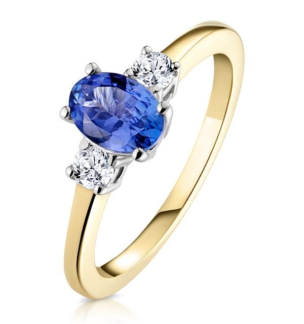 Tanzanite 7 x 5mm And Diamond 18K Gold Ring  N4317 - image 1