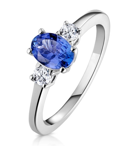 Tanzanite 7 x 5mm And Diamond 18K White Gold Ring  N4317Y - image 1