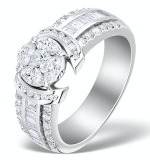 Engagement Ring Galileo 1.50ct Look Diamonds 18K White Gold N4488