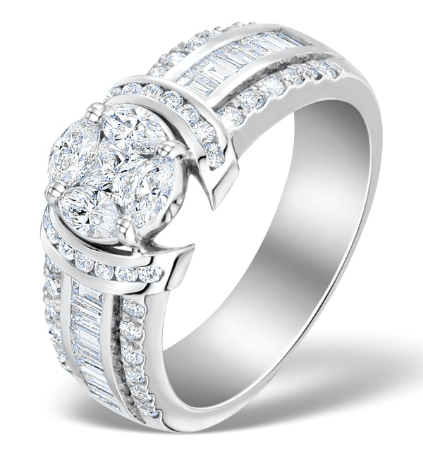 Engagement Ring Galileo 1.50ct Look Diamonds 18K White Gold N4488 - image 1